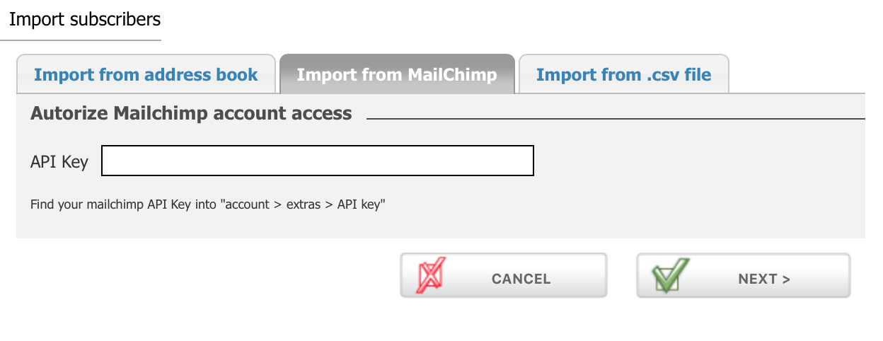 Import contacts from Mailchimp