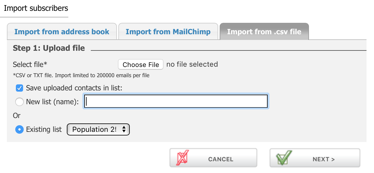 Import CSV file for contacts