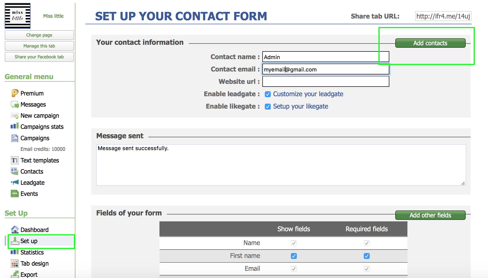 Add a new contact in contact form